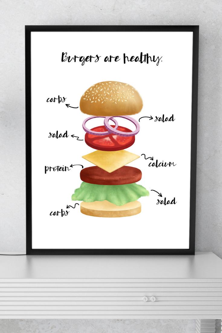 Burgers Are Healthy Printable Food Illustration Art Print Burger Prints Stack Funny Foodie Food Illustrations Food Illustration Art Foodie