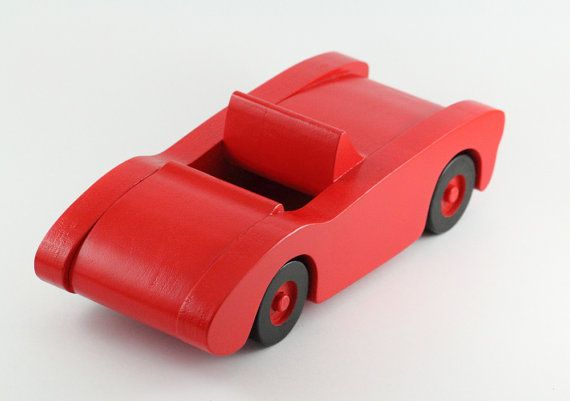 Red Wooden Toy Car Great For Kids Birthday Or As A Christmas Gift Wooden Classic Car Toy Racing Car Bright Coloured Toy Wooden Toys Wooden Toy Car Toy Car