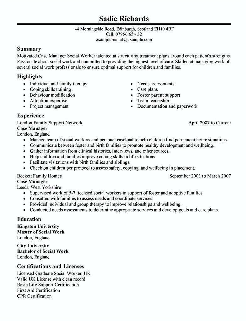 Case Manager Social Services Case Manager Resume This Case