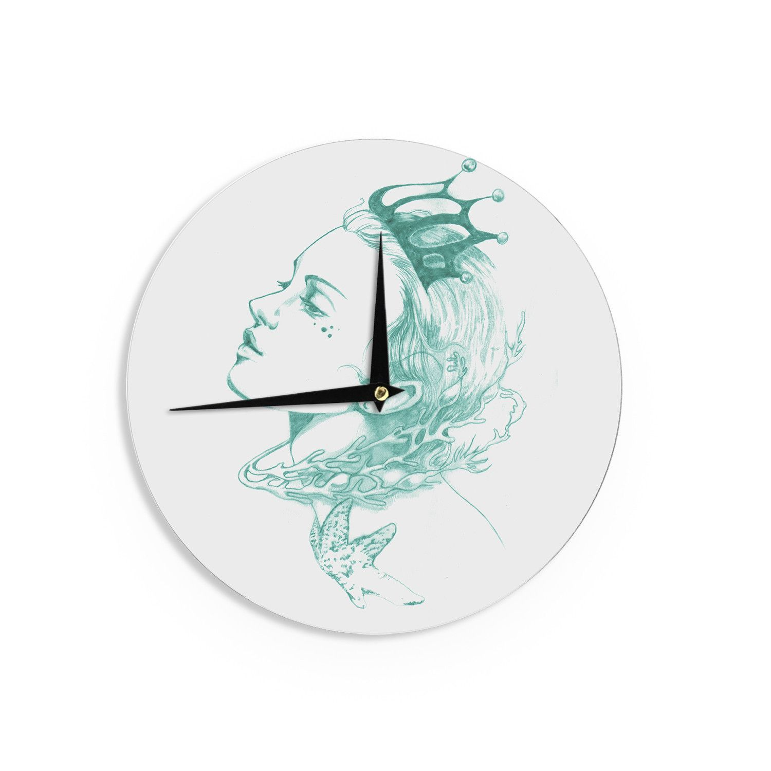 "Lydia Martin ""Queen of the Sea Green"" Wall Clock"