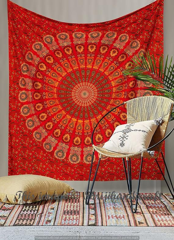Indian Mandala Red Queen Tapestry Wall Hanging Mandala Tapestries Indian Cotton Bedspread Pi Wall Blankets Tapestries Wall Tapestries Dorm Mandala Wall Hanging