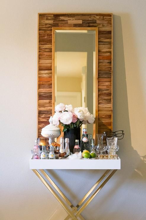 Dining Room Bar Boasts An X Based Tray Table West Elm Tall Butler Stand With White Lacquer Top Filled Libations Along A Reclaimed Wood