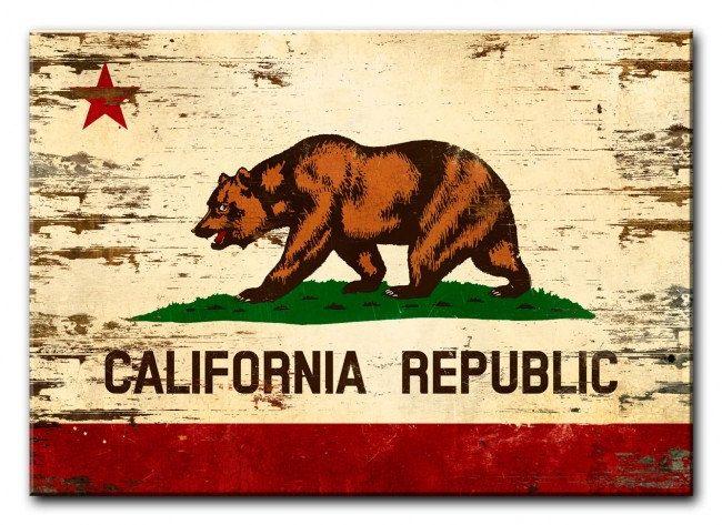 California State Flag On Wood 20 X 14 American Made Vintage Etsy Beach Canvas Wall Art Epic Wall Art Garage Art