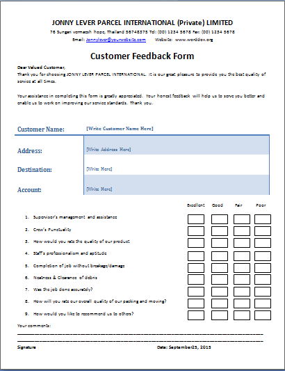The customer feedback form is a written document or tool for Student feedback form template word