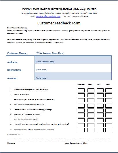 Ms Word Customer Feedback Form Word Document Templates Customer Satisfaction Survey Template Customer Feedback Document Templates
