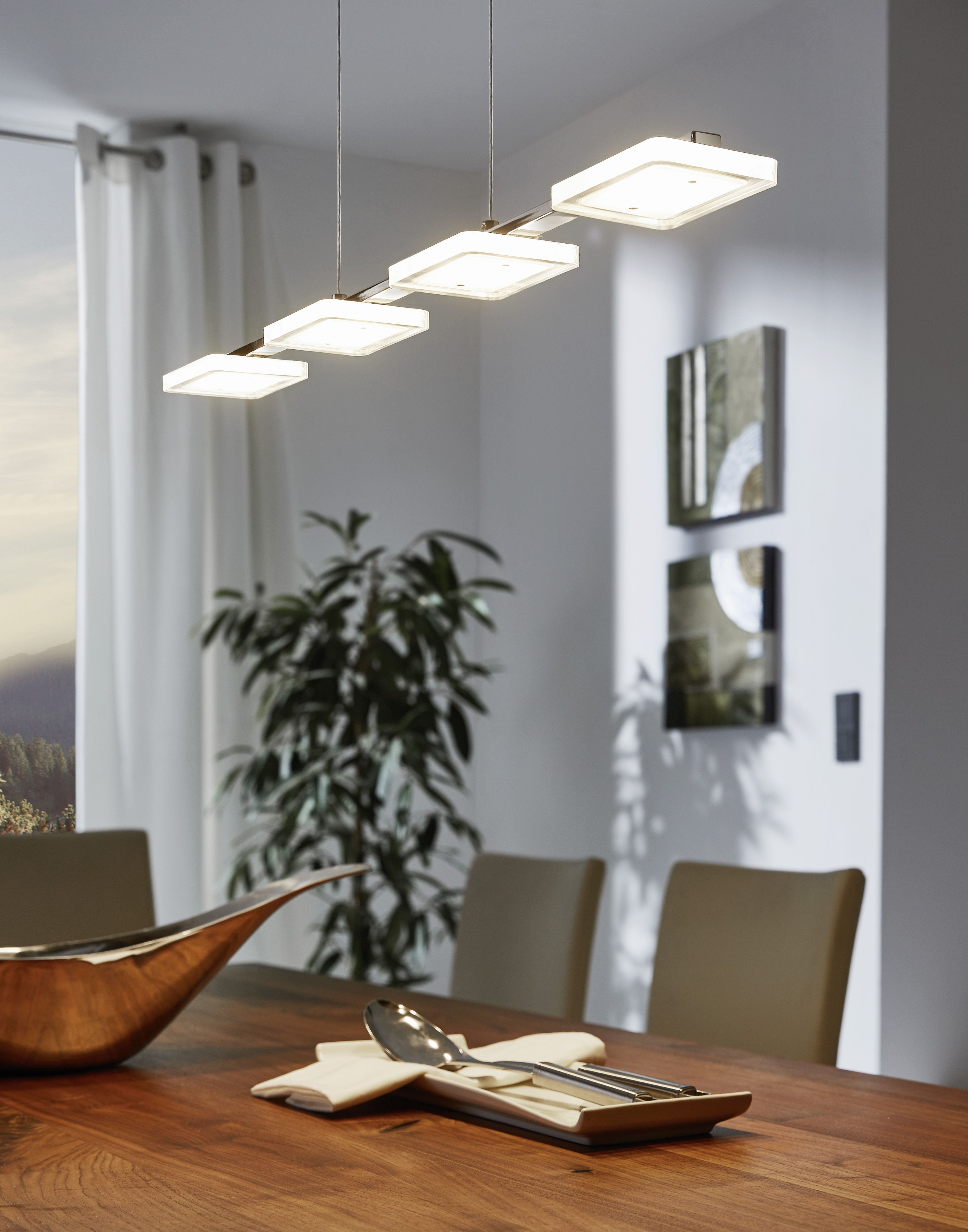 Eglo Lighting / Cartama / LED Polished Chrome 4 Lamp Bar Pendant With  Square Shades
