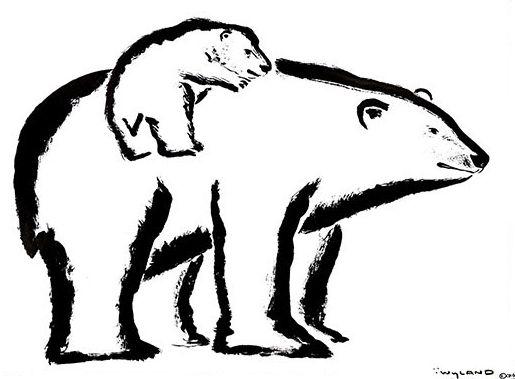 Line Art Baby : Polar bear and baby sumi e art by wyland