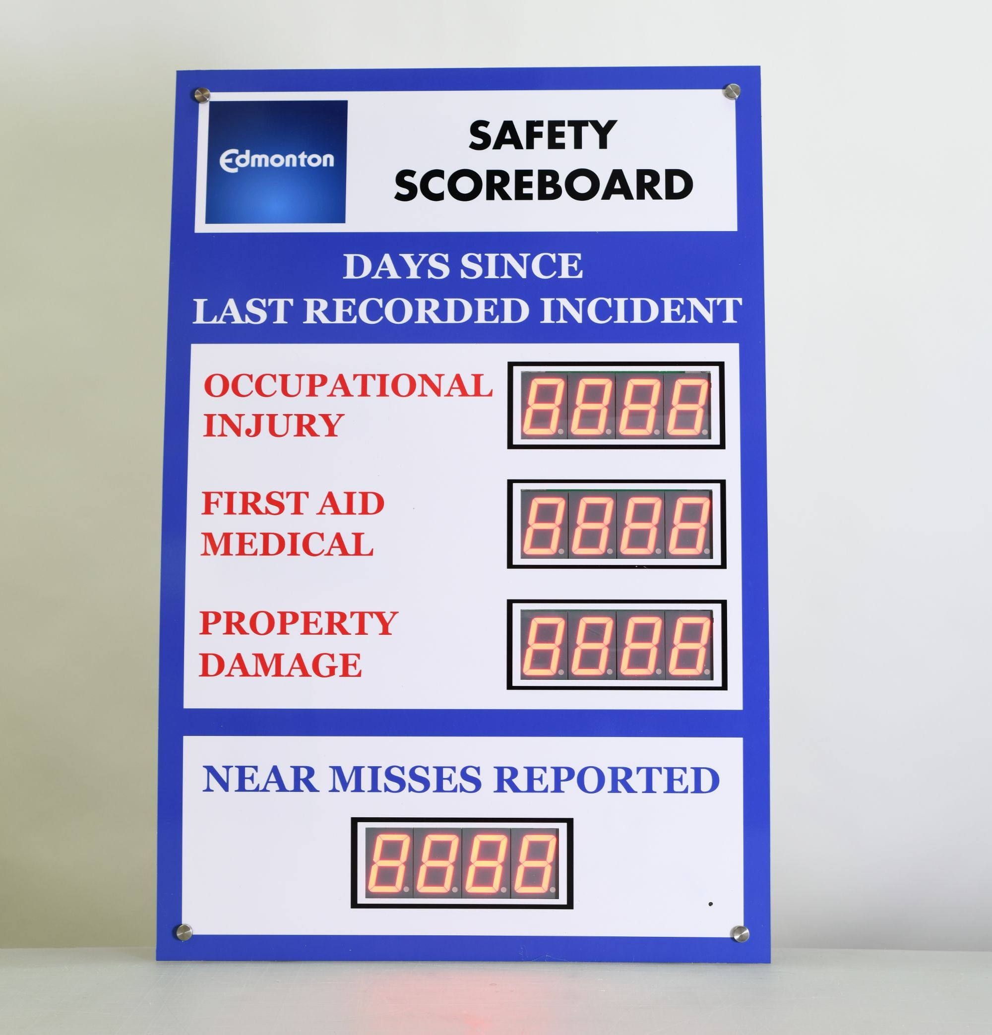 Days since last accident sign with four displays 36hx24w