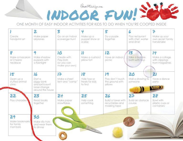 One Month Of Easy Indoor Activities For Kids Housemixblog Com