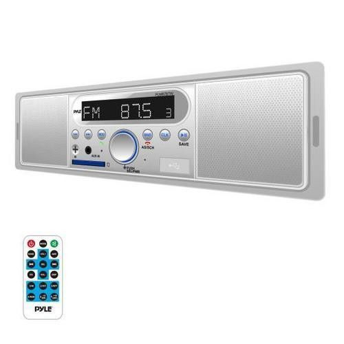 New In Dash Boat Marine MP3 USB SD Media Receiver w// 2 Black Box Speakers System