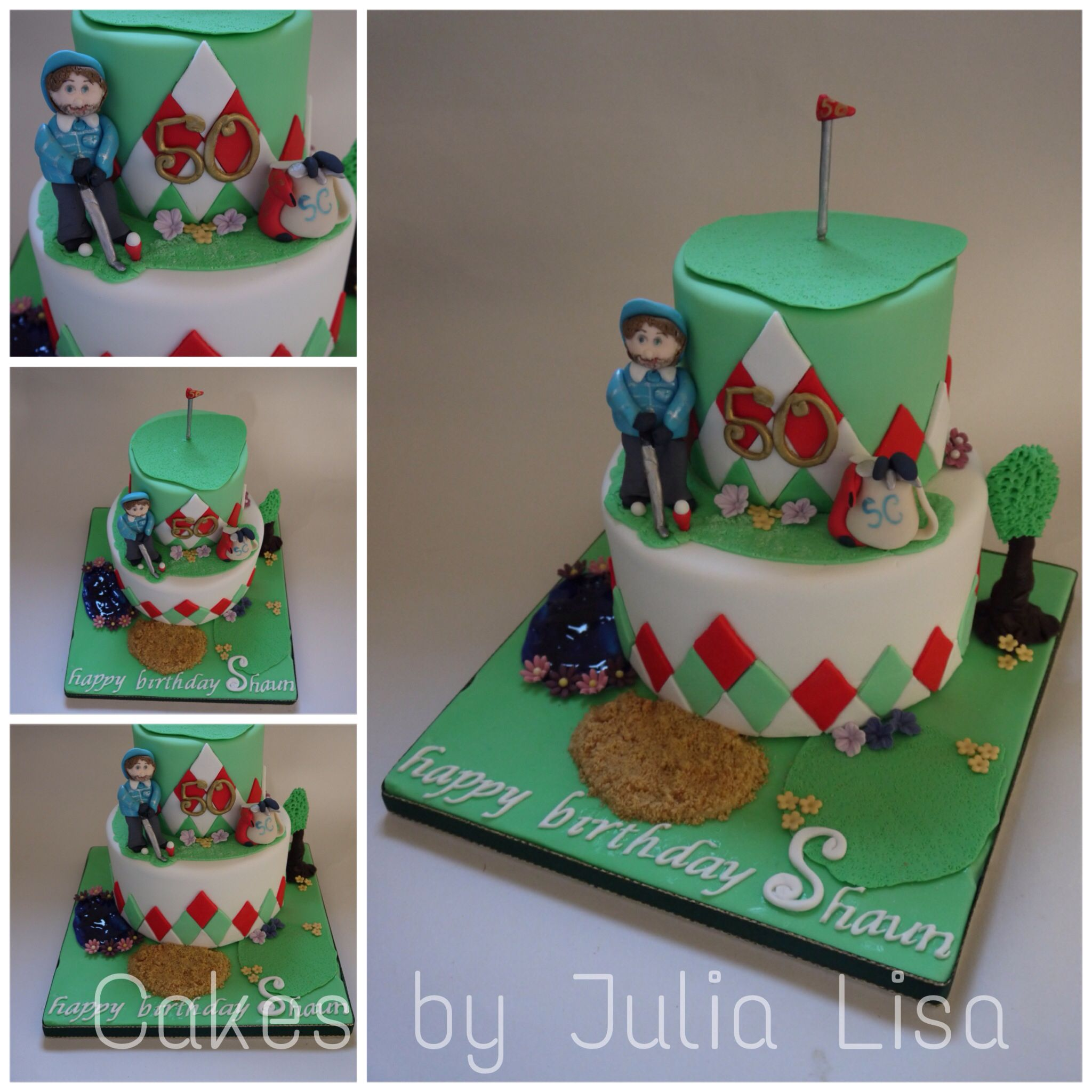 Two tier rich fruit 50th golf themed novelty birthday cake