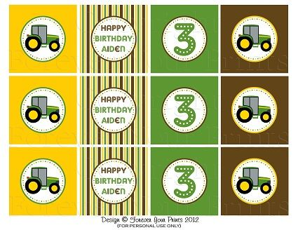 Tractorpartycupcaketopperssetx328 Pixels Tractor Cupcakes Little Red Wagon 3rd Birthday
