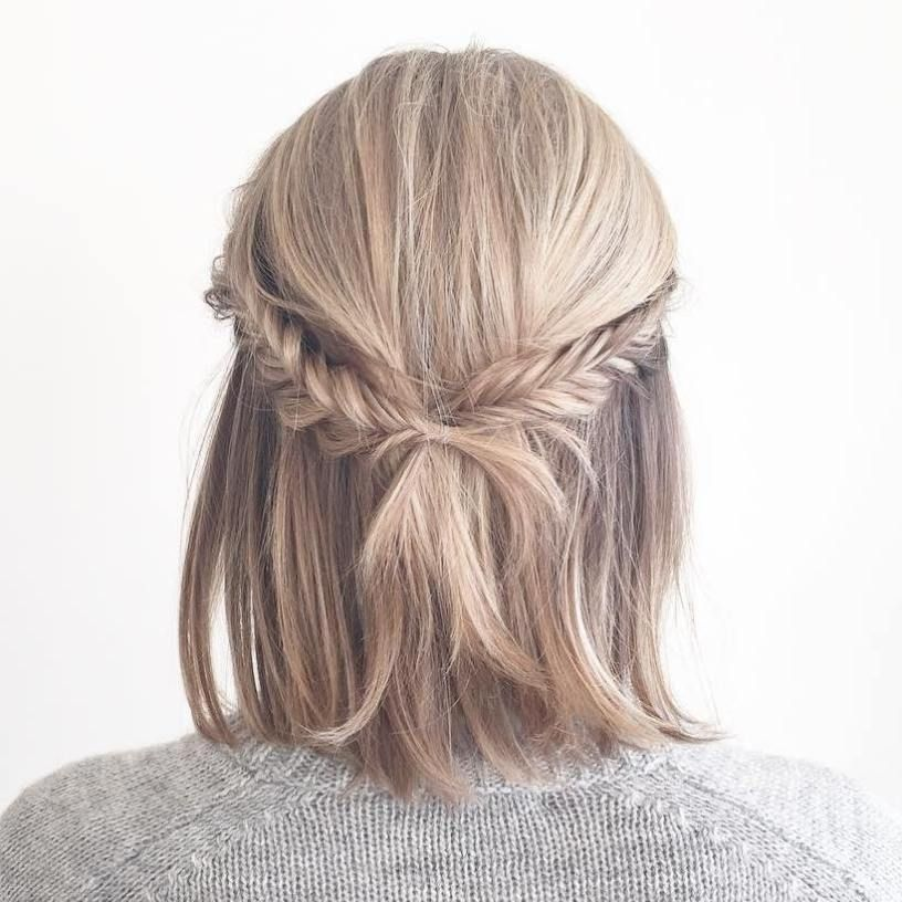 50 Hottest Prom Hairstyles For Short Hair Half Updo Fishtail