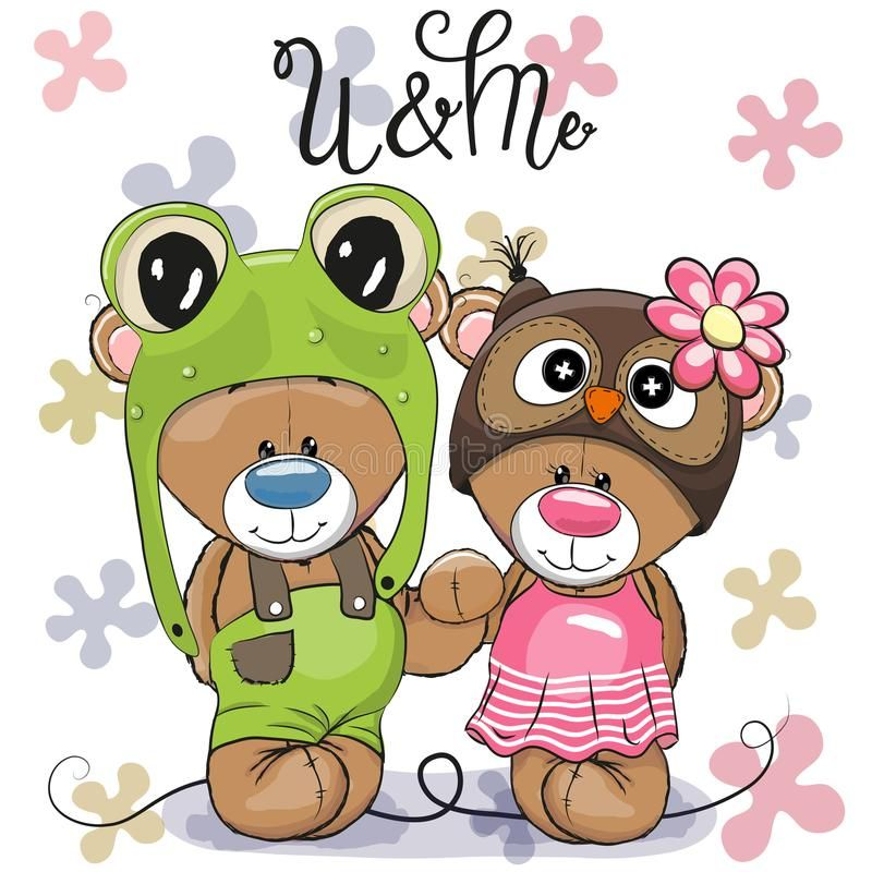 Cute Cartoon Bears in a frog hat and owl hat. Two Cute Cartoon Bears in a frog hat and owl hat royalty free illustration