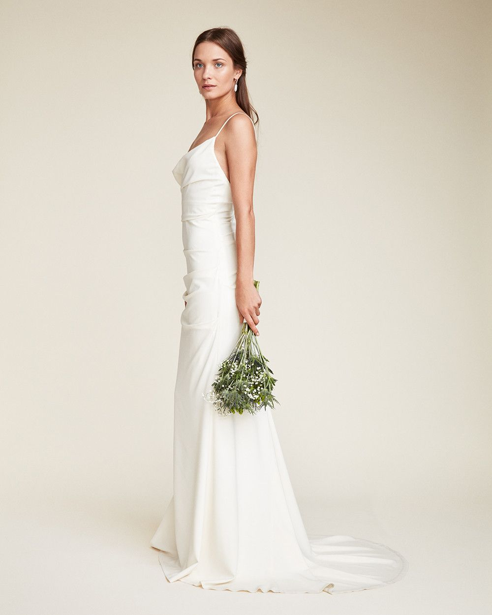 Tara Bridal Gown A Draped Cowl Neckline Suspended With Thin Spaghetti Straps Give This Figure Flattering Si Wedding Dresses Bridal Gowns Perfect Wedding Dress