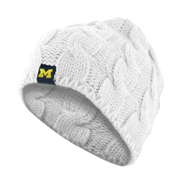 Adidas Michigan Wolverines Women\'s White Braided Knit Cap ...