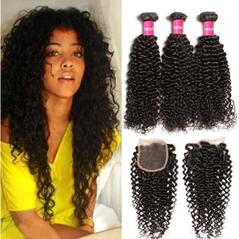 Longqi Hair Brazilian Curly Virgin Hair Weave 3 Pack Bundles With 4x4 Lace Closure Human Hair Weave Hairstyles Real Human Hair Extensions Brazilian Curly Hair