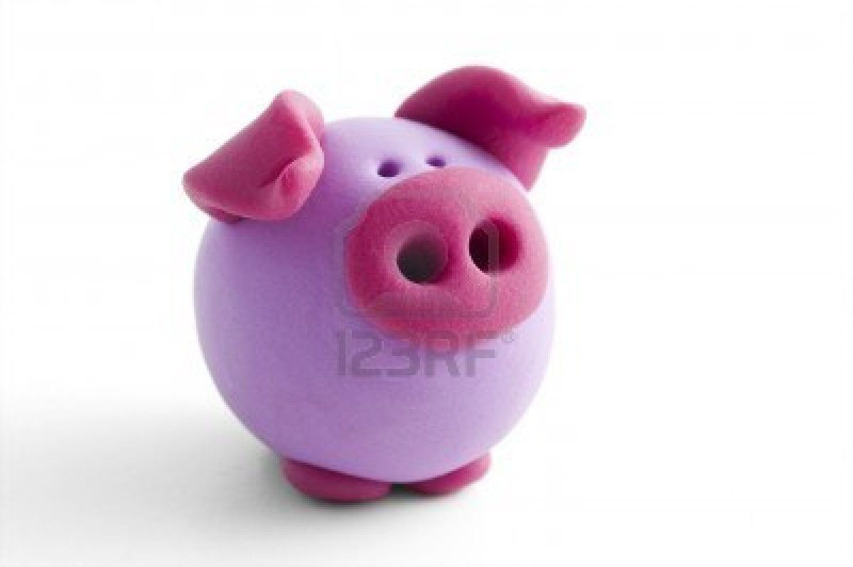 polymer clay pig isolated on white background Stock Photo
