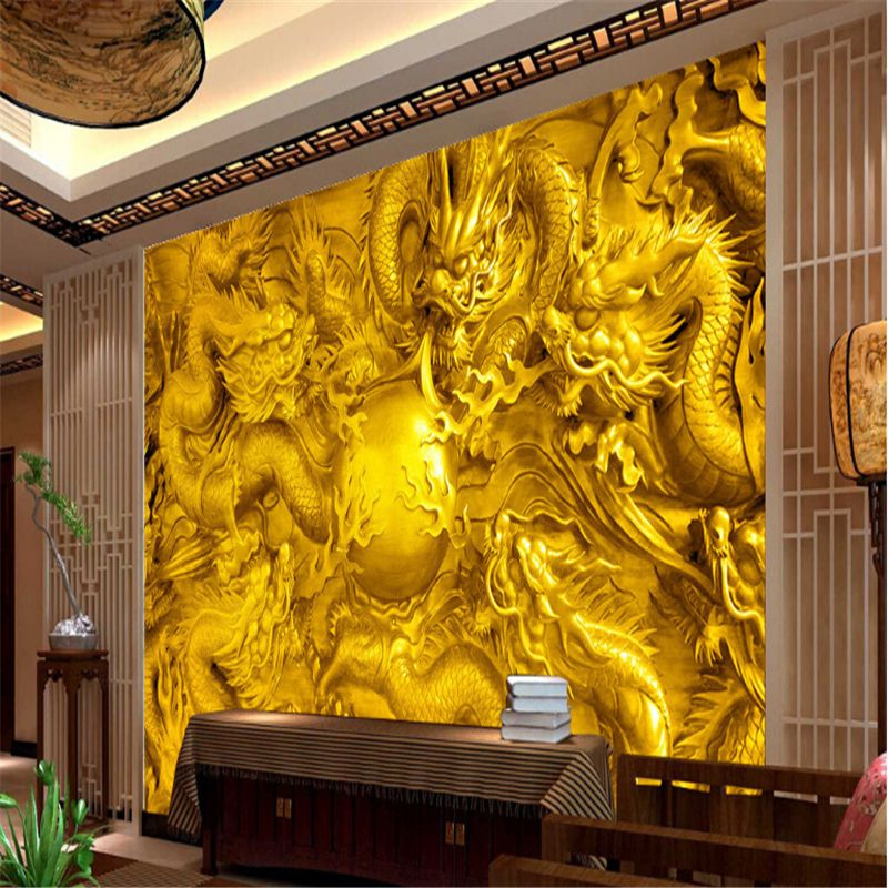 Embossed golden dragon 3d wallpaper custom mural 3 d riches and ...