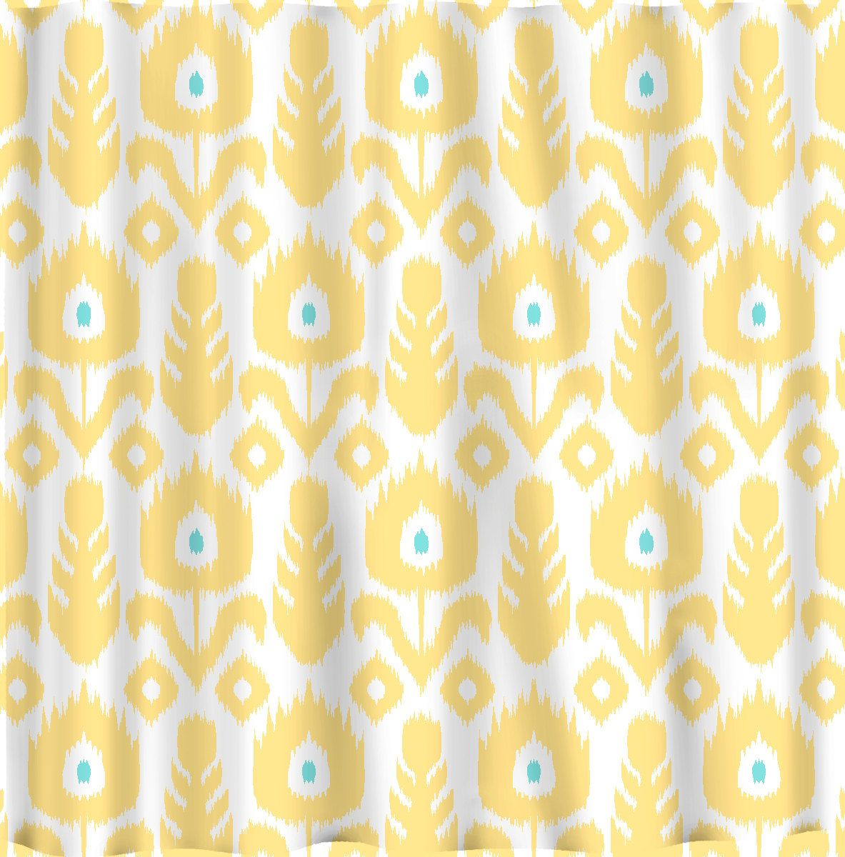Beautiful Ikat Shower Curtain For Your Interior Bathroom Decor Yellow Modern