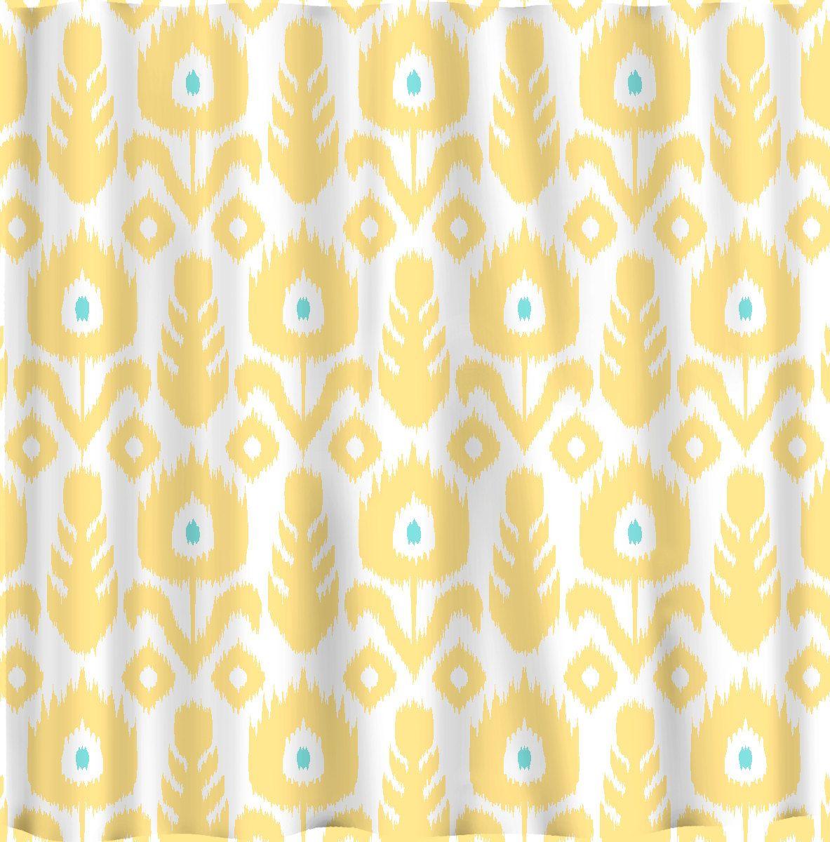 Beautiful Ikat Shower Curtain For Your Interior Bathroom Decor Yellow Modern