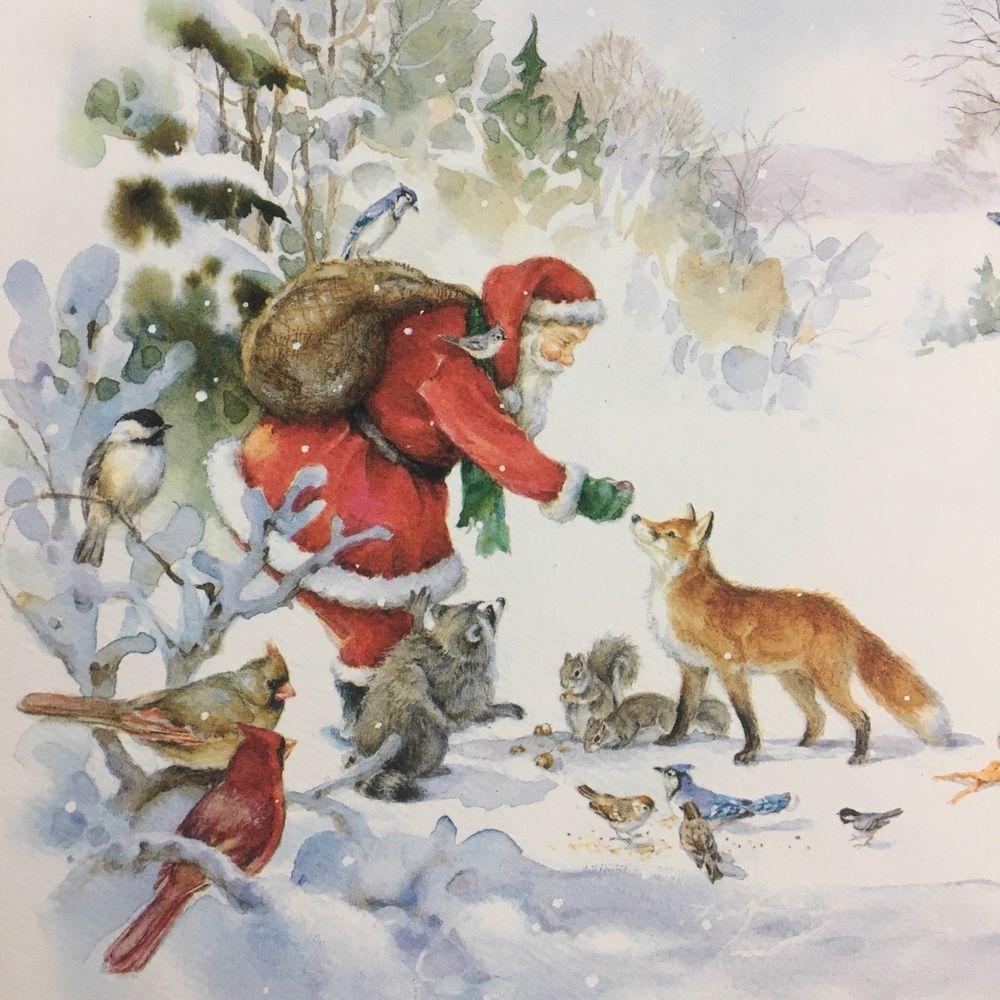 Vintage Santa Feeding Fox Christmas Card Martha Edwards Art National ...