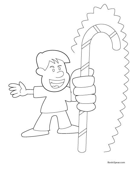 Here\'s a candy cane coloring page free for personal or classroom use ...