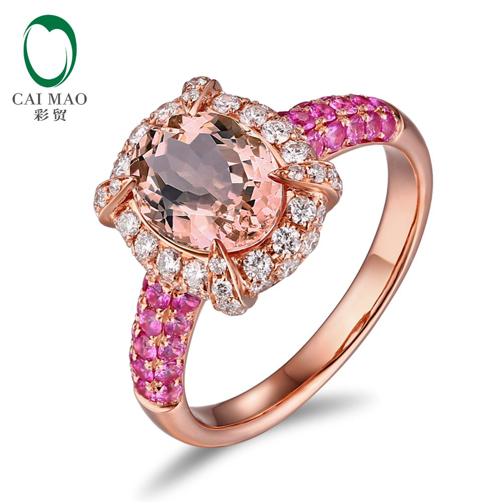 CaiMao 14KT/585 Rose Gold 0.59ct Round Cut Diamond 0.54ct Pink ...