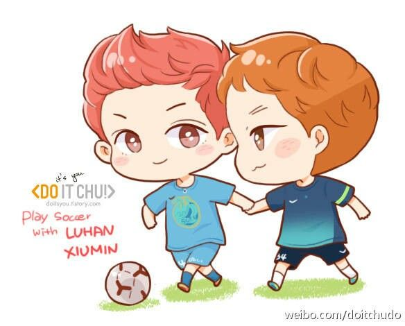 Soccer Luhan & Xiumin (cr: do it chu!)