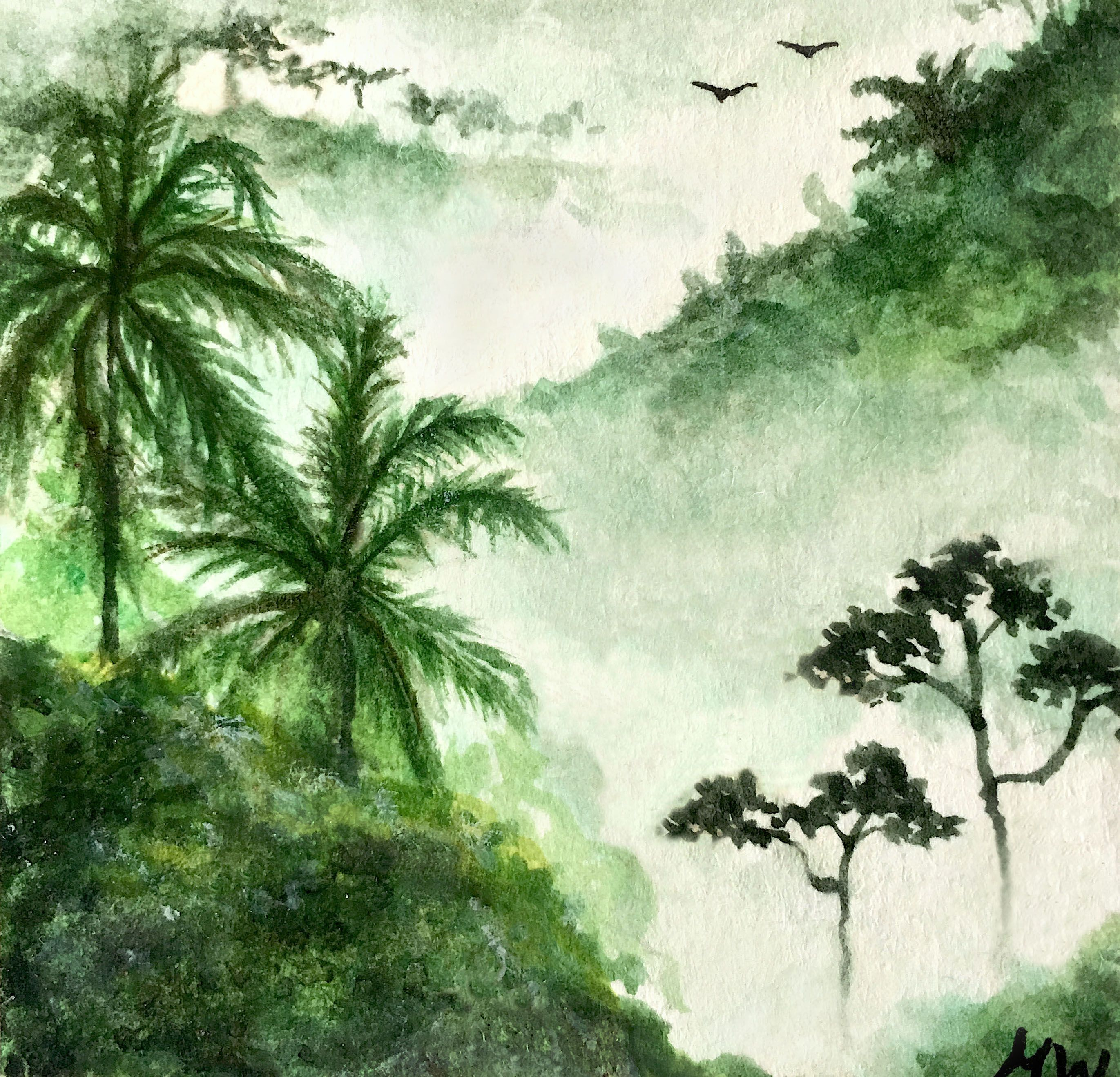 Watercolor Forest By Marianna Wynne Trees Jungle Forest Birds