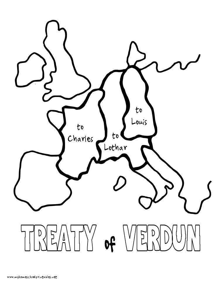 My Homeschool Printables History Coloring Pages Volume 2 Treaty Of Verdun In 2020 Homeschool History Verdun Coloring Pages