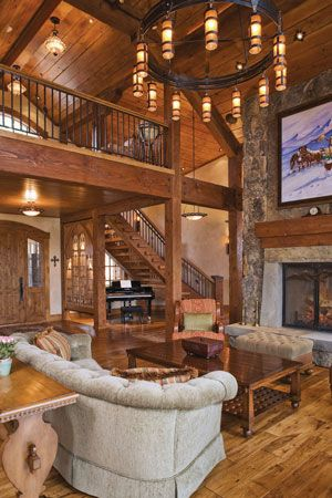 Beams wood stone open stairway with balcony fireplace awesome lighting home interiors black diamond ranch also architecture casas bellas hogar rh ar pinterest