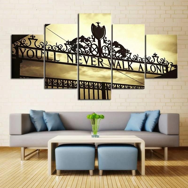 You'll Never Walk Alone Anfield Stadium Liverpool England UK United Kingdom Britain Football Soccer 5 Piece Canvas Wall Art Painting Wallpaper Poster Picture Print Photo Decor – Medium / Framed