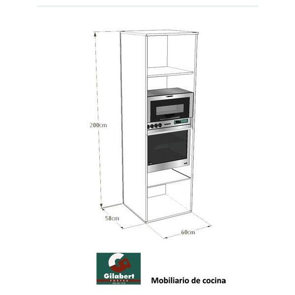 Armario columna horno microondas altura 200 pinteres - Mueble cocina microondas ...