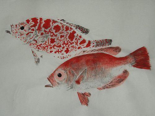 Squirrel fish gyotaku