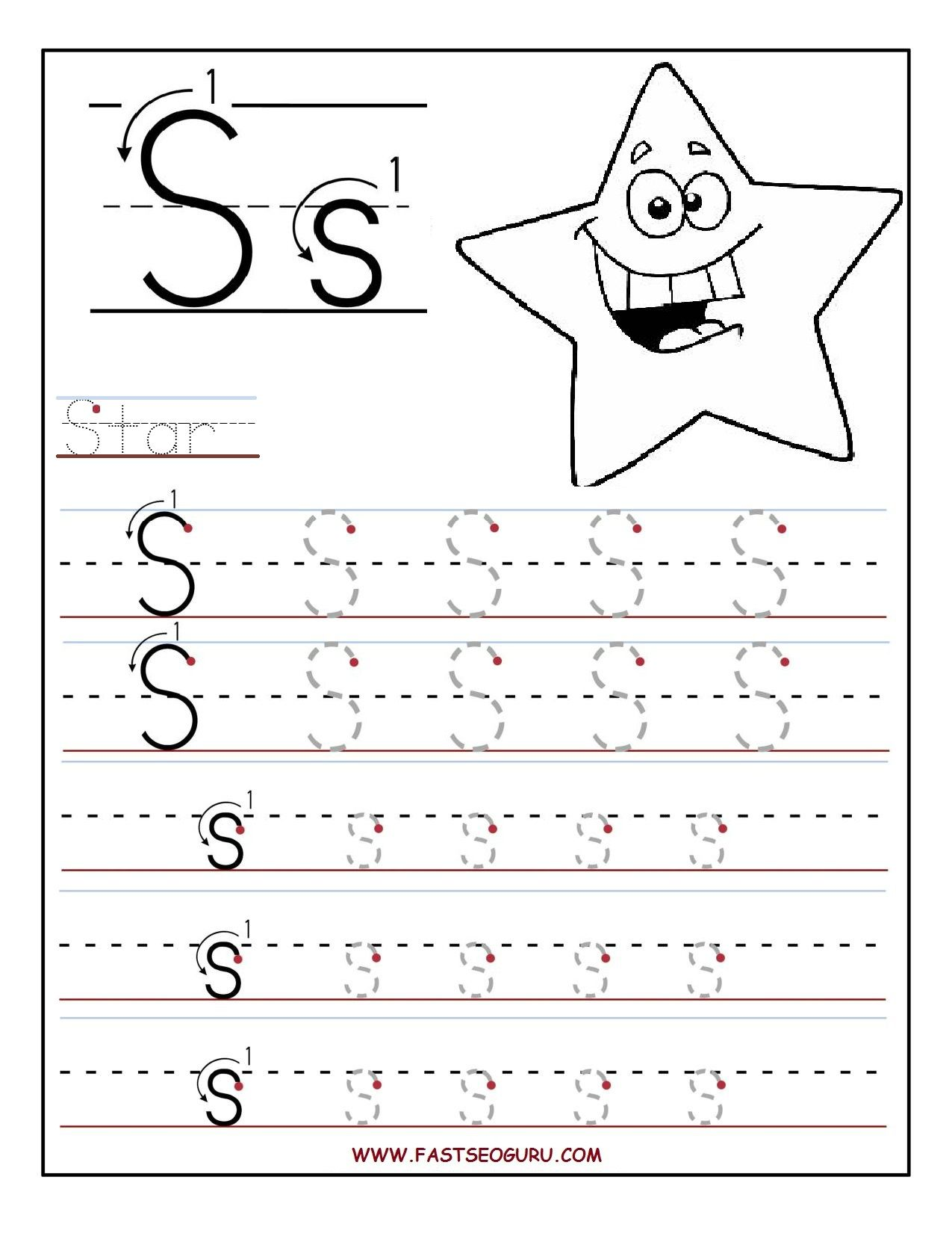 Printable Letter S Tracing Worksheets For Preschool With