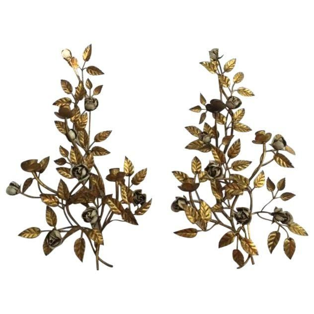 Image of Metal Roses Gilded Metal 3-Arm Sconces - Pair