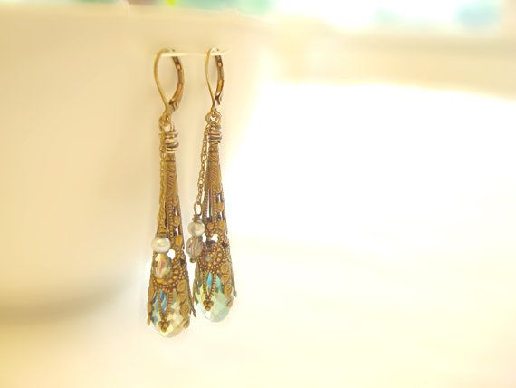 Victorian Crystal and Brass Earrings Blue AB by SonseraeDesigns, $28.00