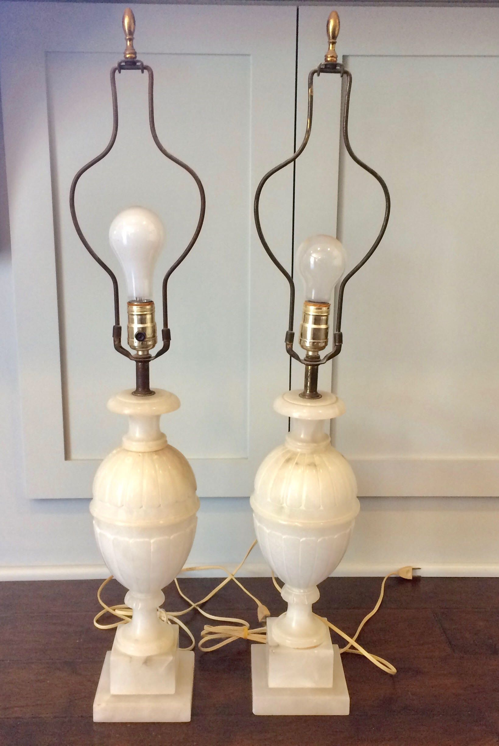 Pair Of Vintage Alabaster Lamps