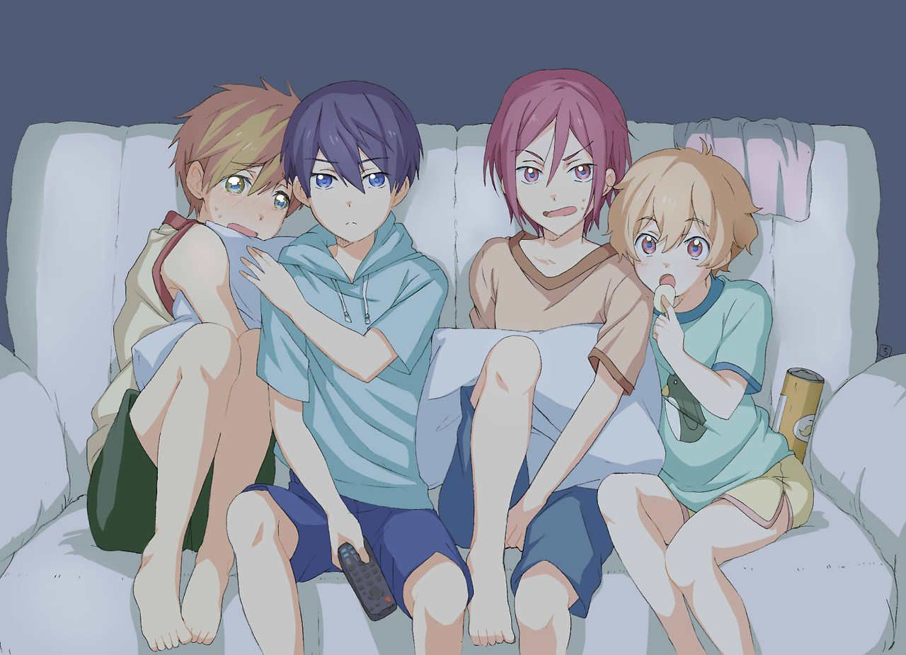 free! characters when they were young it's so cute how haru is protecting makoto like he alws do