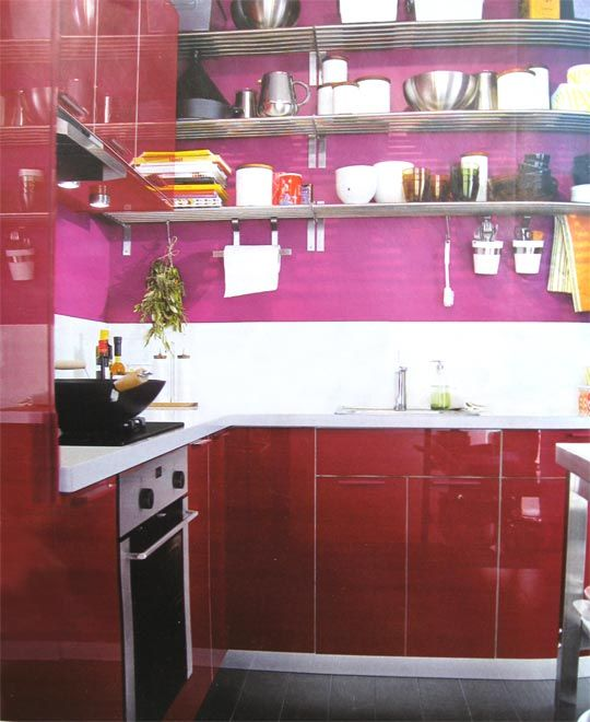 fuschia and cherry red | Pink kitchen, Hot pink kitchen ...