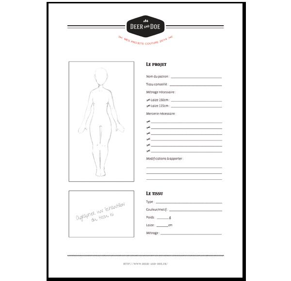 fiche à imprimer afin de vous aider à organiser vos projets couture ... e47c572ec906