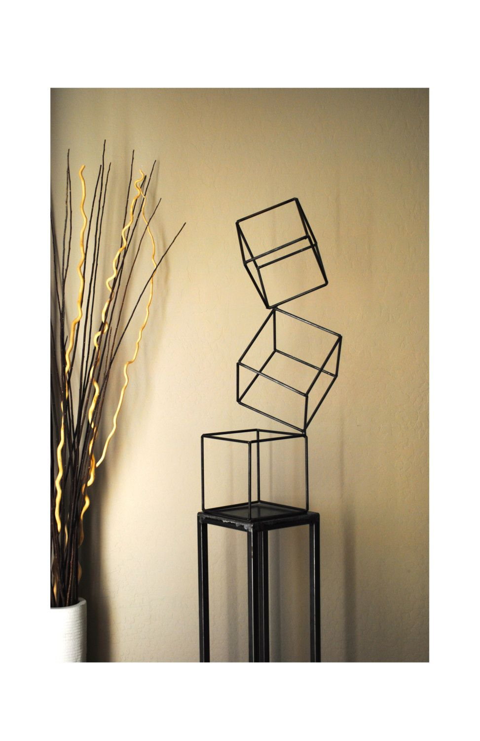 Metal Abstract Art Sculpture Modern Retro Simple Table Decor ...