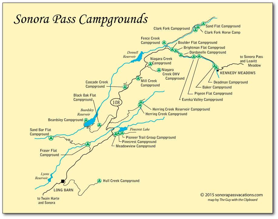 map of campgrounds along sonora pass in tuolumne county ca