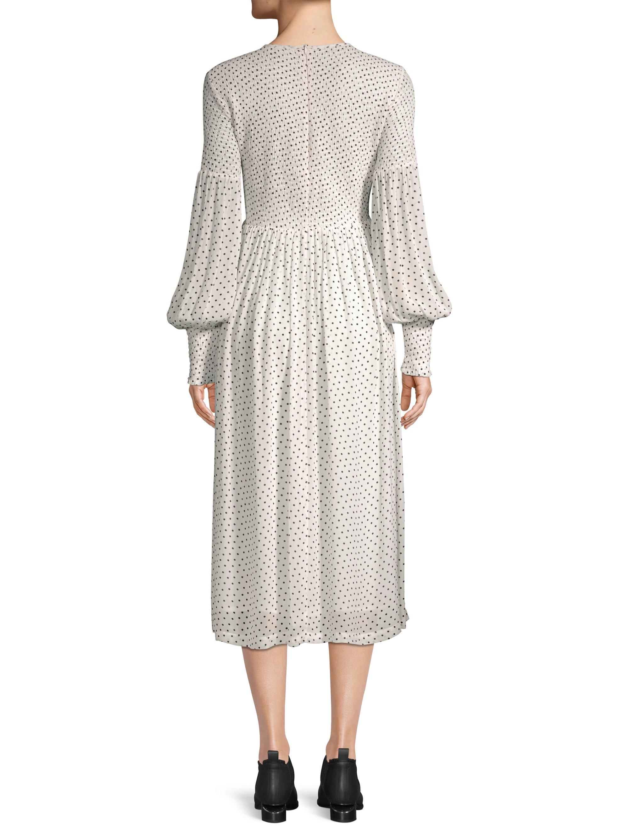02178beb Ganni Rometty Polka Dot Georgette Midi Dress - Egret 42 (8 ...