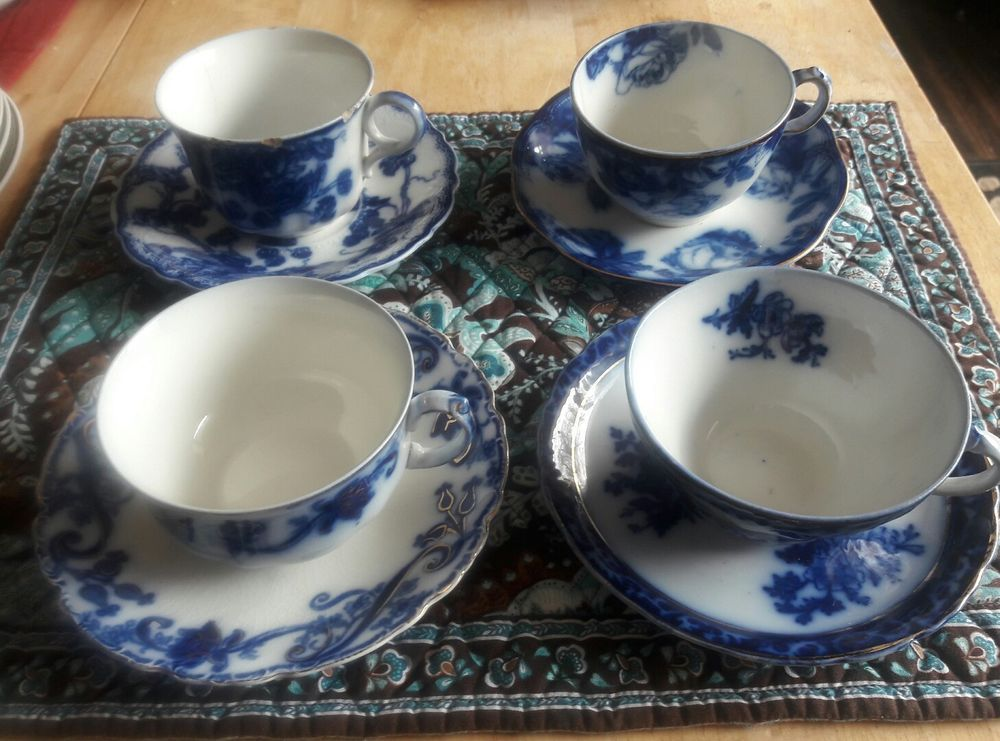 Lot 4 sets Flow Blue cup Saucers China Plate Johnson Ridgways Stanley Mismatched | Pottery u0026 & Lot 4 sets Flow Blue cup Saucers China Plate Johnson Ridgways ...