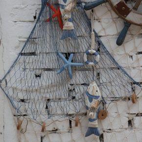 Fischernetz Deko fischernetz deko wand blau weiss maritime dekoartikel dekoration