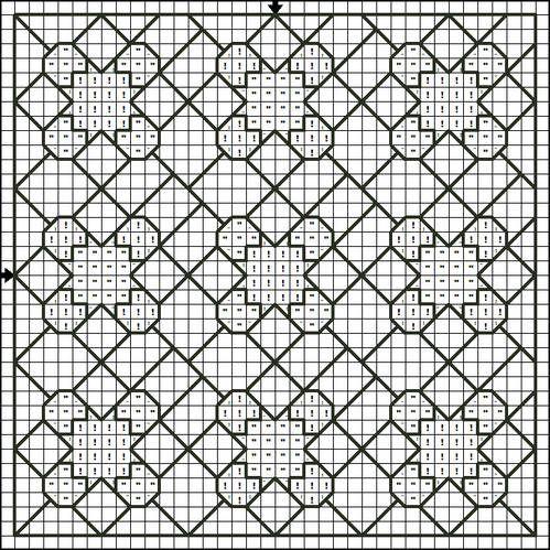 Free Cross Stitch Pattern - Symbol Brown and Blue Patchwork Pattern