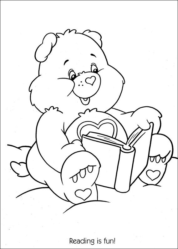 care bears reading is fun coloring page - Fun Colouring Sheets