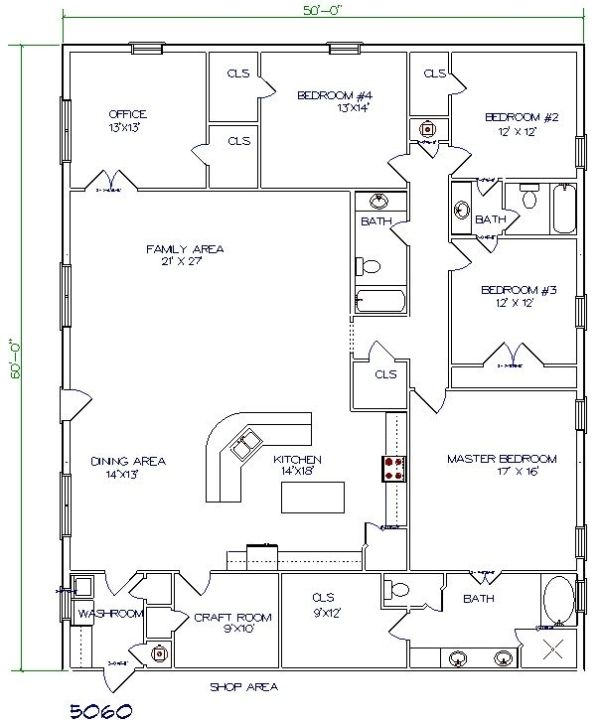 40x60 Barndominium Floor Plans - Google Search